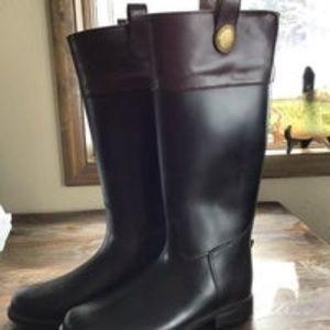 Banana Republic Black and Brown Rain Boots